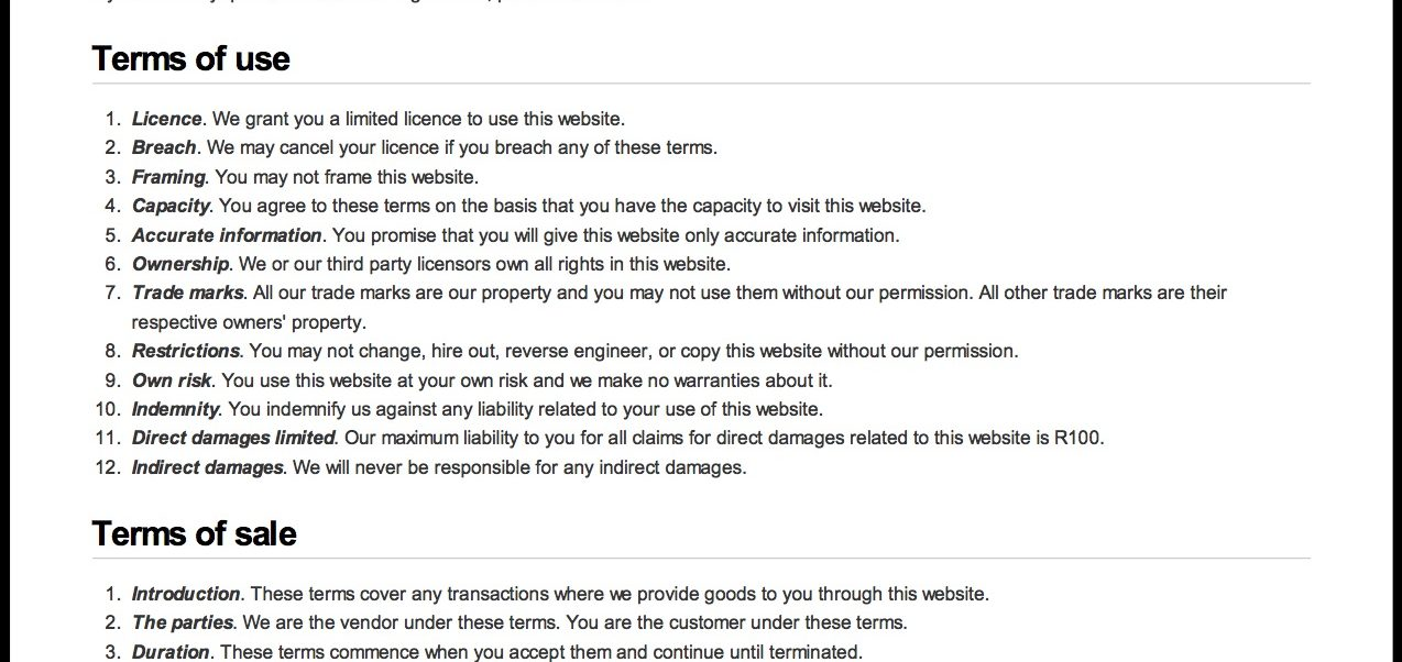 Terms Of Use >> Get Free Website Terms And Conditions Template Here