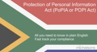 Protection of Personal Information Act, PoPIA or POPI Act summary, popi compliance